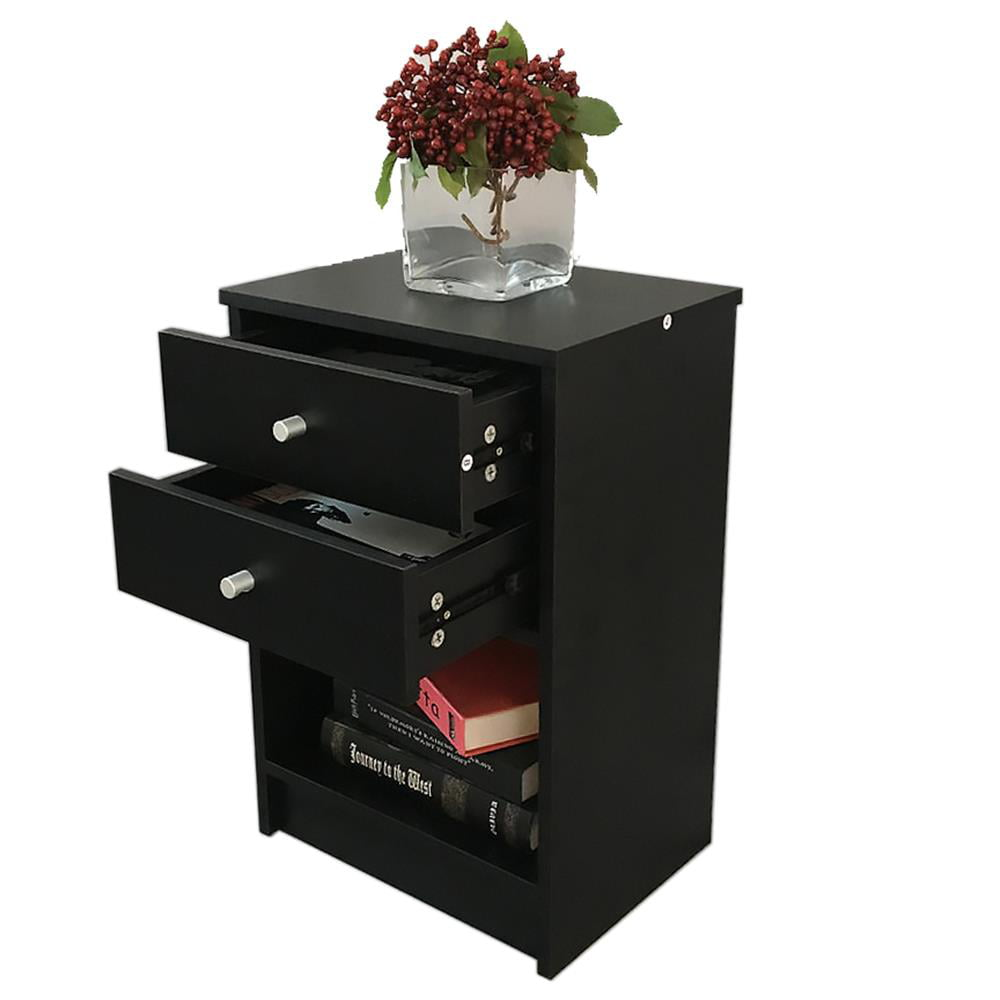 Zimtown Black Nightstand For Bedroom,End Table With Drawer