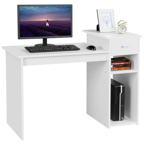 Small Wood Computer Desk with Drawers and Storage Shelves