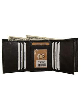 Improving Lifestyles Leather Mens Wallet Trifold Black Flipin Window ID Credit Card FREE Organza Gift Bag SUN1221BK