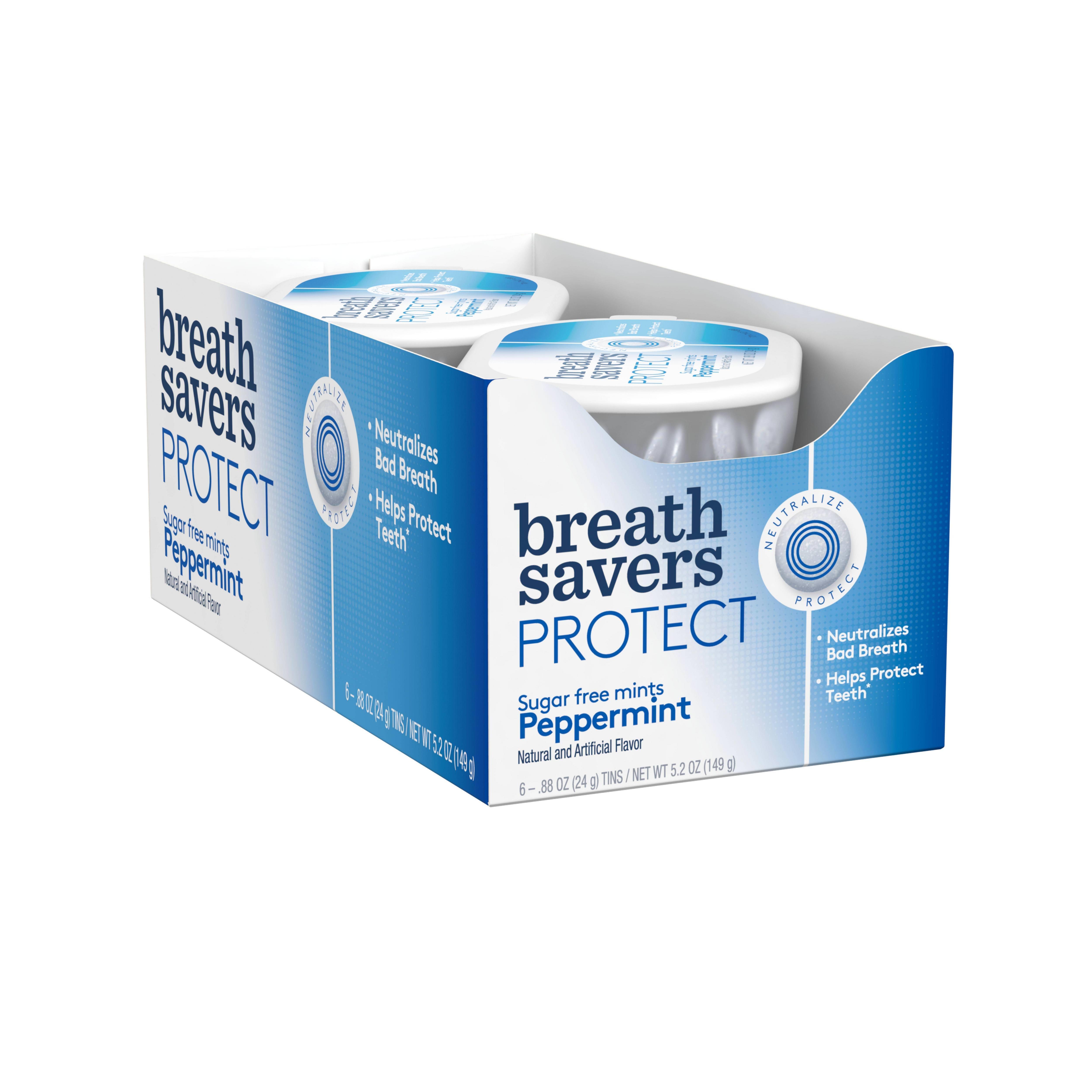 Breath Savers, Protect Peppermint Mints, 0.88 Oz, 6 Ct