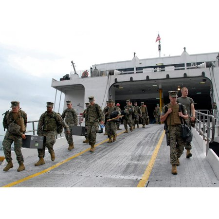 Marines And Sailors Descend The Loading Ramp Of The Westpac Express Poster Print By Stocktrek Images