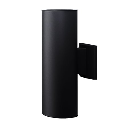 NICOR Lighting 12-Inch Outdoor Cylinder Wall Sconce Up and Down Bullet Light, Black
