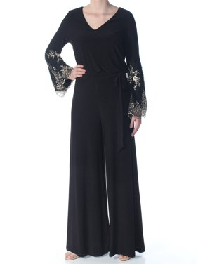 MSK Womens Black Embellished Embroidered Tie Waist Long Sleeve V Neck Cocktail Jumpsuit  Size: S