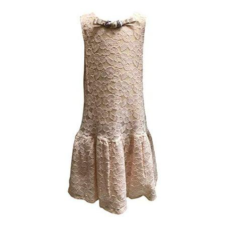 Vintage Lace Rosette (Peach Lace Vintage Drop Waist Sleeveless Flapper Dress Satin Bow and Rosettes )