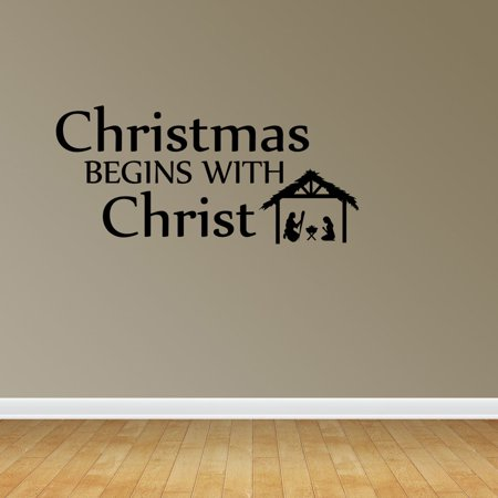 Christmas Begins With Christ Quote Nativity Scene Holiday Decal Vinyl Wall Decals PC142 ()