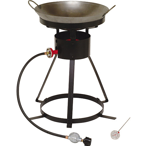 "King Kooker 24"" Propane Outdoor Cooker with Special Recessed Wok Ring and Steel Wok Package"