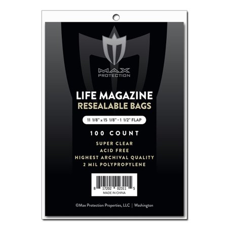 Max Pro Ultra Resealable Life Magazine Bags - 11-1/8 x 14-1/4  - 100ct Pack