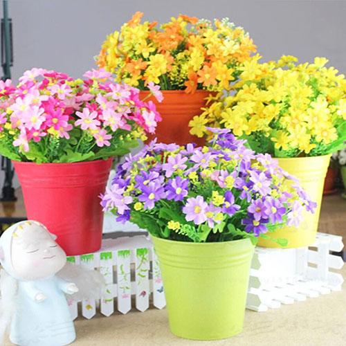 Girl12Queen 1 Bouquet 28 Heads Fake Daisy Artificial Silk Flower Home Wedding Decoration