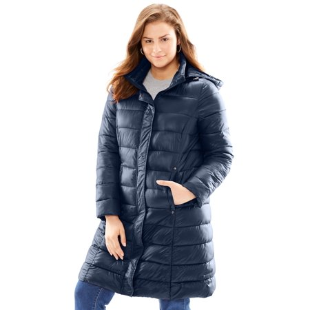 95c6d86738f Woman Within - Plus Size Long Packable Puffer Jacket - Walmart.com