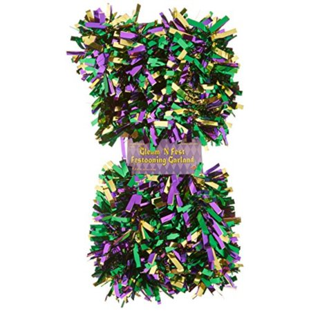 6-Ply FR Gleam 'N Fest Festooning Garland (gold, green, purple) Party Accessory (1 count) - image 1 de 1