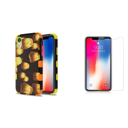 - TUFF Hybrid Series Impact Resistant Phone Case (Lanterns) Compatible with Apple iPhone XR with Tempered Glass Screen Protector and Atom Cloth