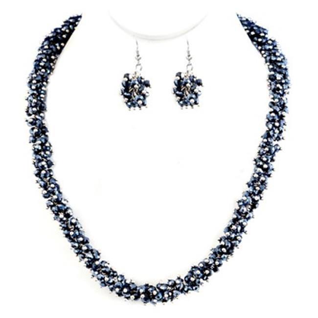C Jewelry Hematite Glass Crystal Seed Beads Necklace And Earrings Set