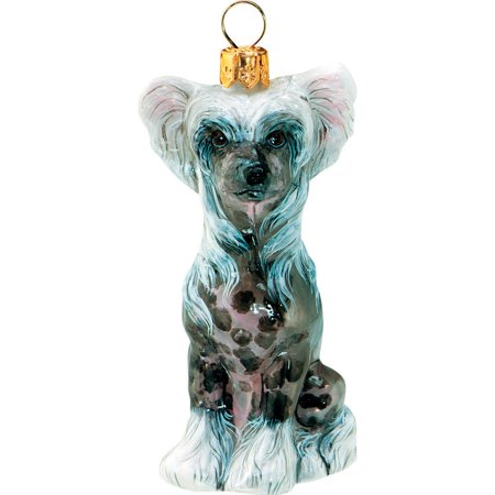 Chinese Crested Hairless Dog Sitting Blown Glass Polish Christmas Tree Ornament ()