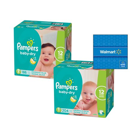 Diaper Trial Pack - [Save $15] Size 1 & Size 2 Pampers Baby-Dry Diapers, Enormous Packs (Total 204 Diapers) + Free $15 Gift Card