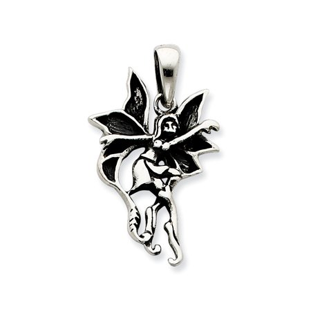 Sterling Silver Large Antiqued and Polished Dancing Fairy Charm Pendant