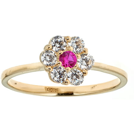 14K Solid Yellow Gold Pink White CZ Baby Ring Band Kids Children Size 3