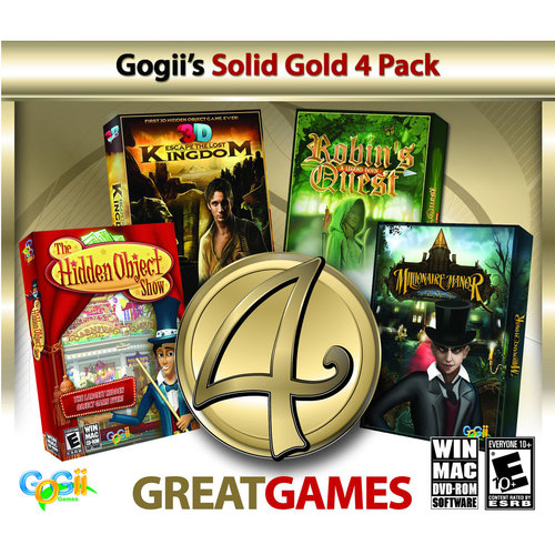 Gogii's Solid Gold 4 Pack Escape the Lost Kingdom, The Hidden Object Show 2, Robin's Quest and Millionaire Manor