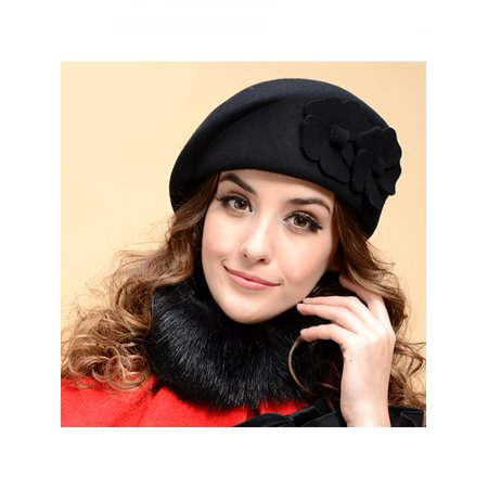 Airline Pilot Cap (Moderna Fashion Women's Beret Baggy Beanie Hat Double Flower Airline Stewardess)