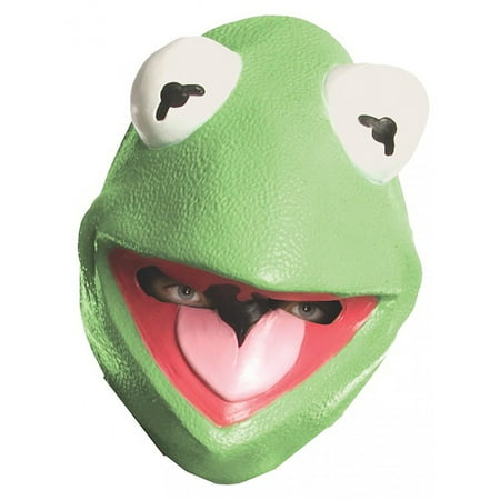 1980s Halloween Cartoons (Kermit the Frog Mask Big Eyes Muppet Green Vinyl Puppet Cartoon Halloween Costume Accessory Unisex Adult Teen Mens One)