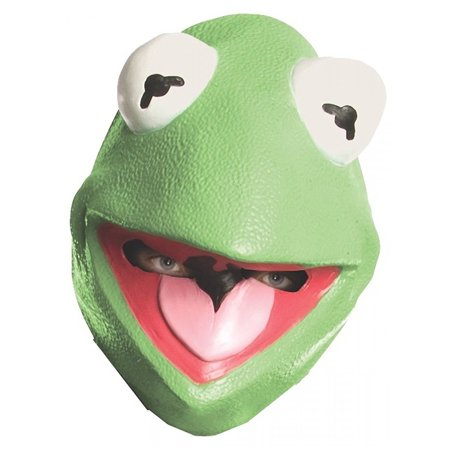 Kermit the Frog Mask Big Eyes Muppet Green Vinyl Puppet Cartoon Halloween Costume Accessory Unisex Adult Teen Mens One Size - Kermit Halloween