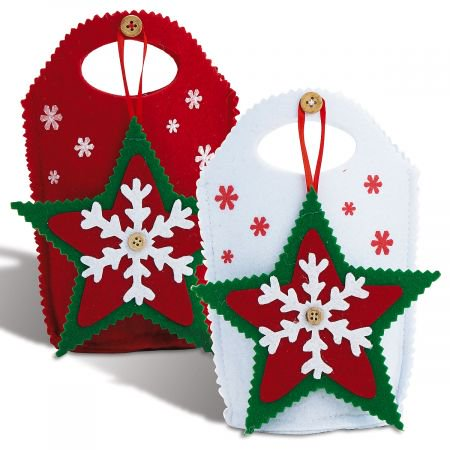 Star-Ornament Christmas Treat Bag- Set of 5 Holiday Felt Goody Bags With Removable Tree - Christmas Goodies Ideas