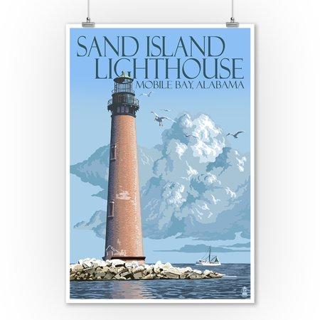 Sand Island Lighthouse - Mobile Bay, Alabama - Lantern Press Artwork (9x12 Art Print, Wall Decor Travel Poster)