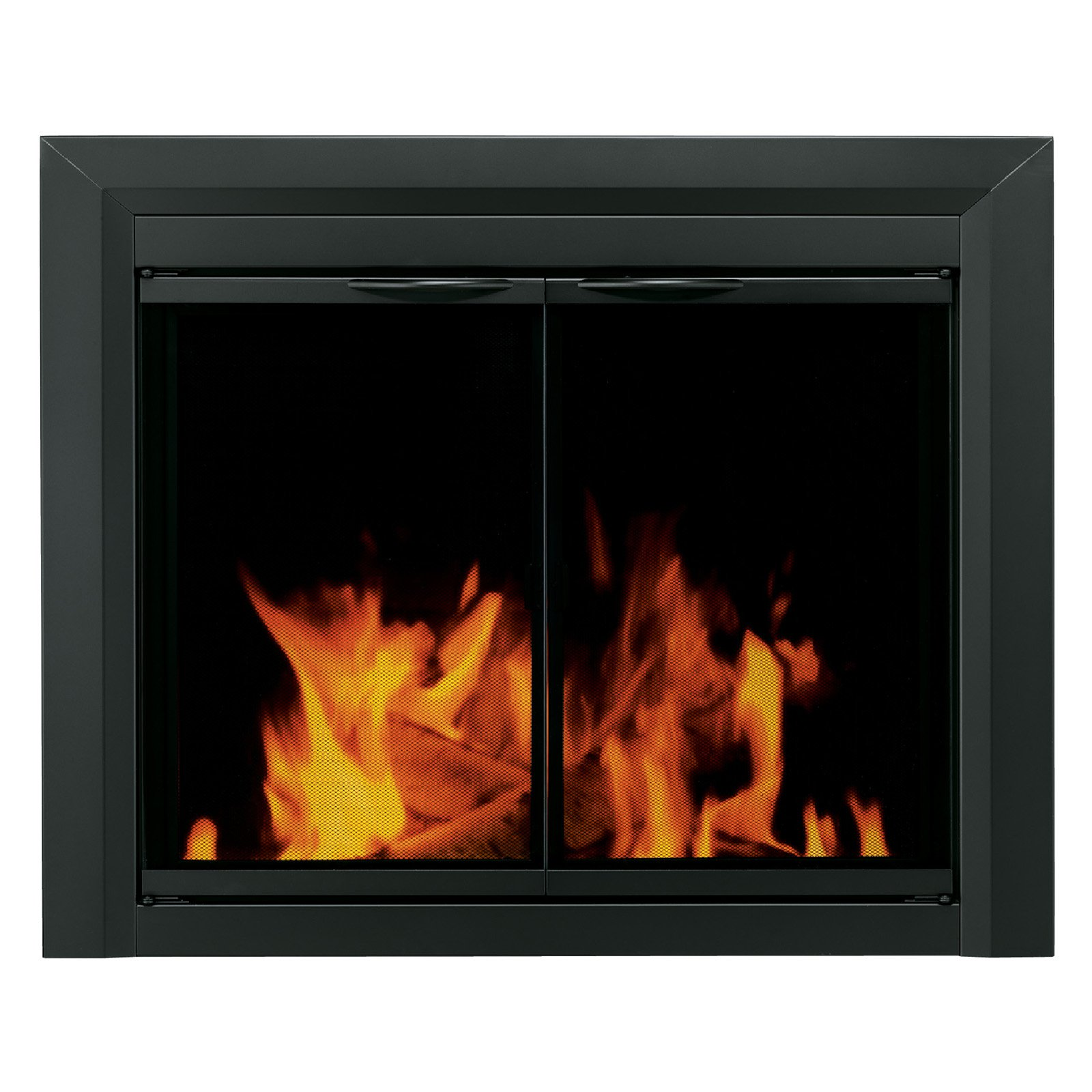 Pleasant Hearth Carlisle Cabinet Fireplace Screen and Smoked Glass Doors - Black