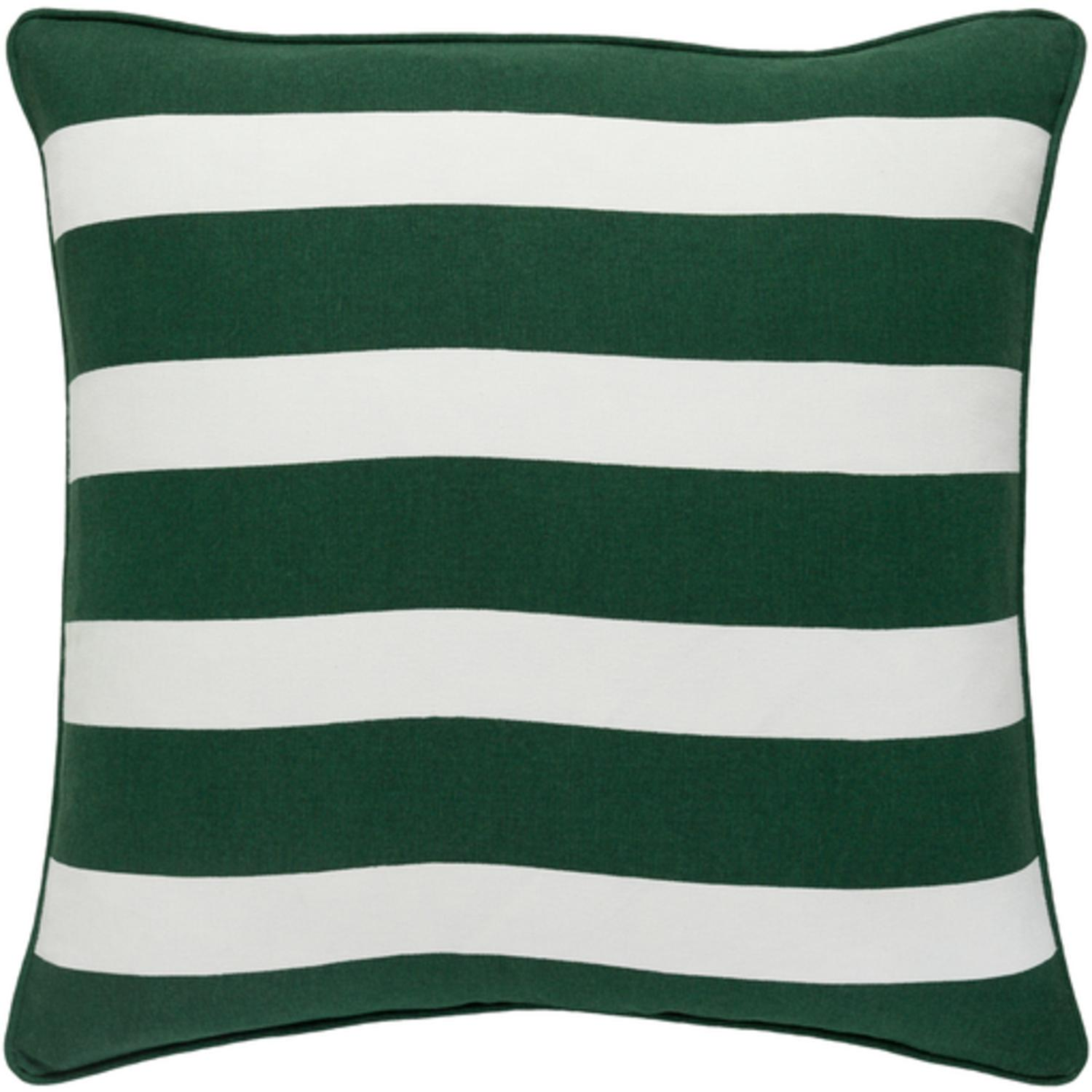 "18"" Snow White and Forest Green Peppermint Strip Decorative Holiday Throw Pillow –Down Filler"