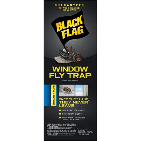6 Pack Black Flag Window Fly Trap Catches All Flying Insects 4 Traps Each ()