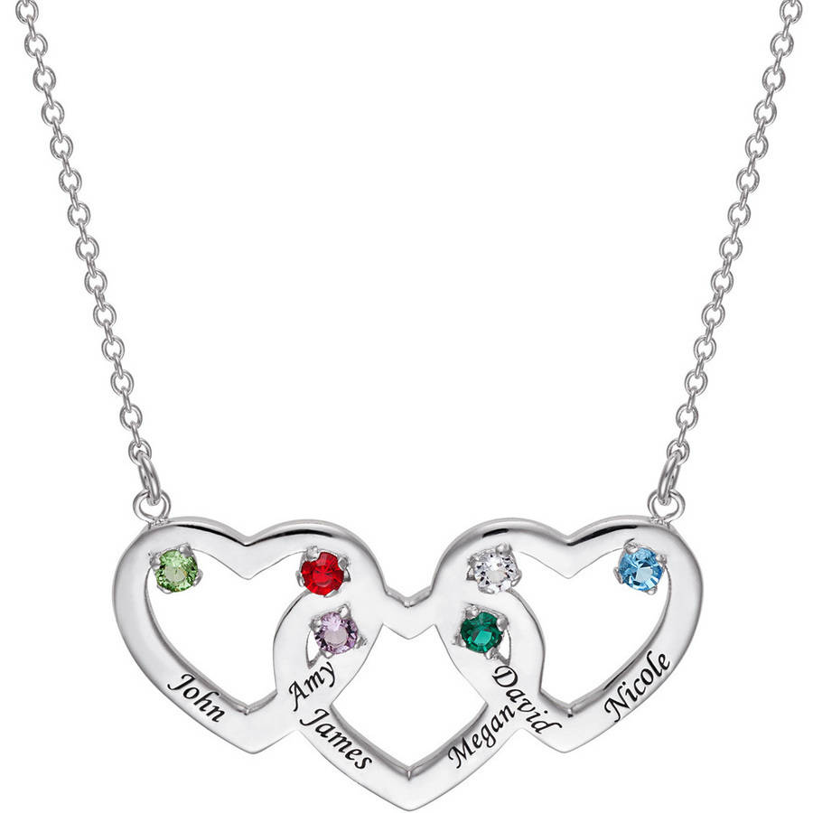 "Personalized Family Rhodium-Plated Name and Birthstone Heart Pendant, 18"" with 2"" Extender"