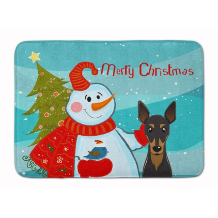 Snowman with Min Pin Machine Washable Memory Foam Mat