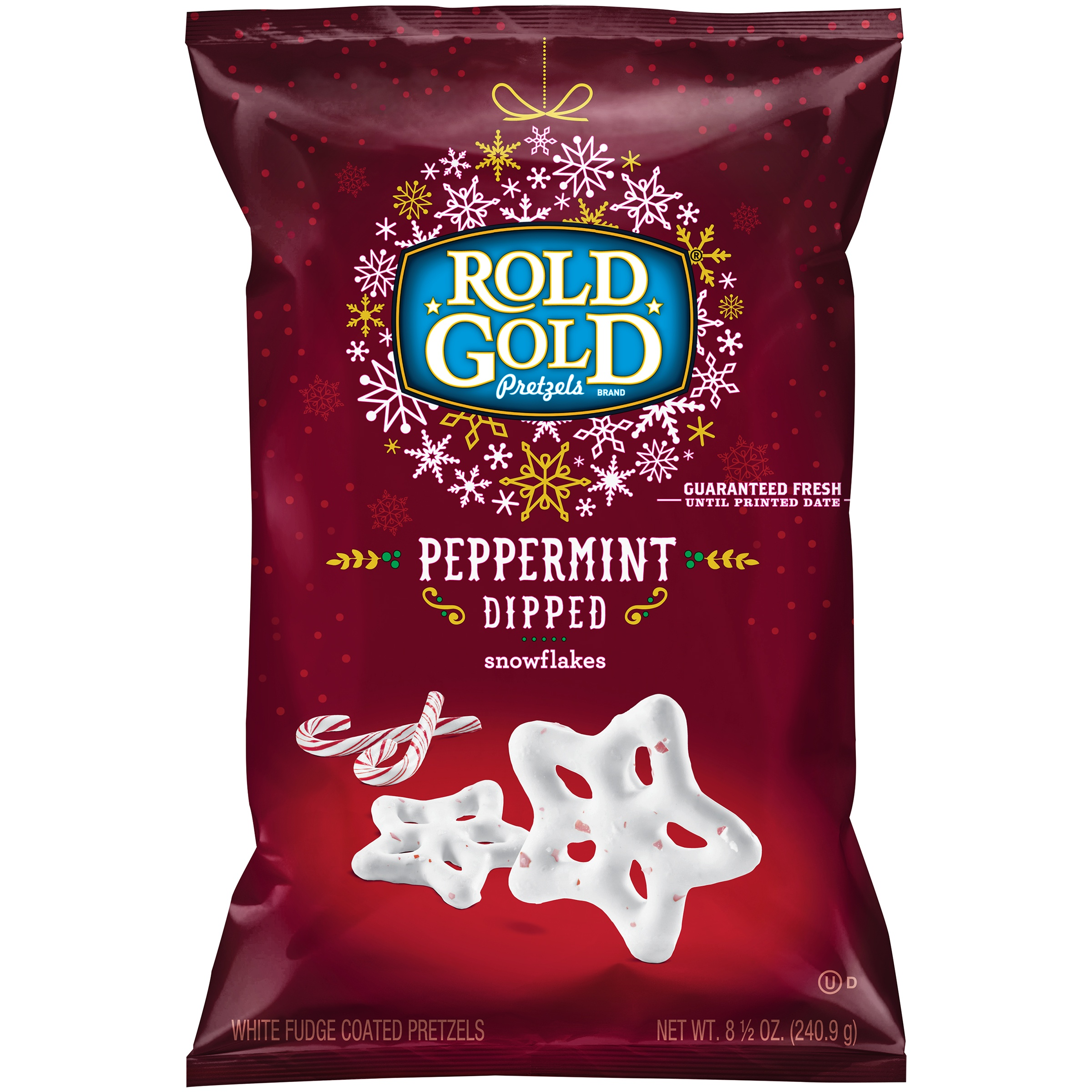 Rold Gold Peppermint Dipped Snowflakes Pretzels 8.5 oz. Bag