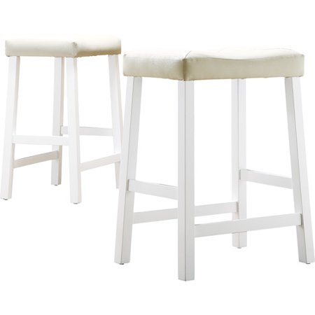 "Hahn 24"" Counter Height Saddle Stools - Set of 2, Multiple Finishes"