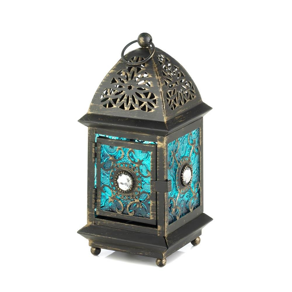 Metal Lanterns, Jeweled Blue Decorative Floor Patio Portable Lantern Outdoor (Sold by Case, Pack of 10)