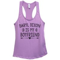 "Womens Walking Dead Basic Tank Top ""Daryl Dixon is my Boyfriend"" - Funny Threadz Small, Lavender"