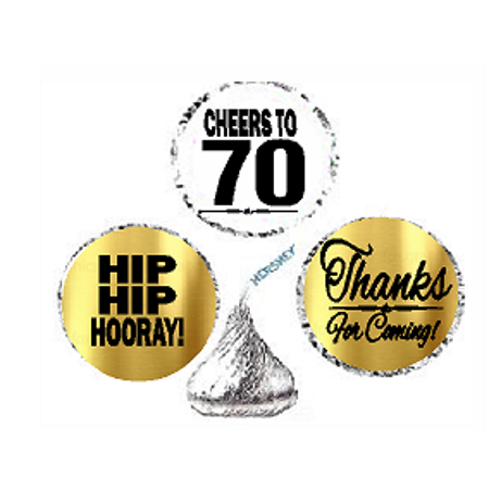 70th Birthday / Anniversary Cheers Hooray Thanks For Coming 324pk Stickers / Labels for Chocolate Drop Hersheys Kisses, Party Favors Decorations