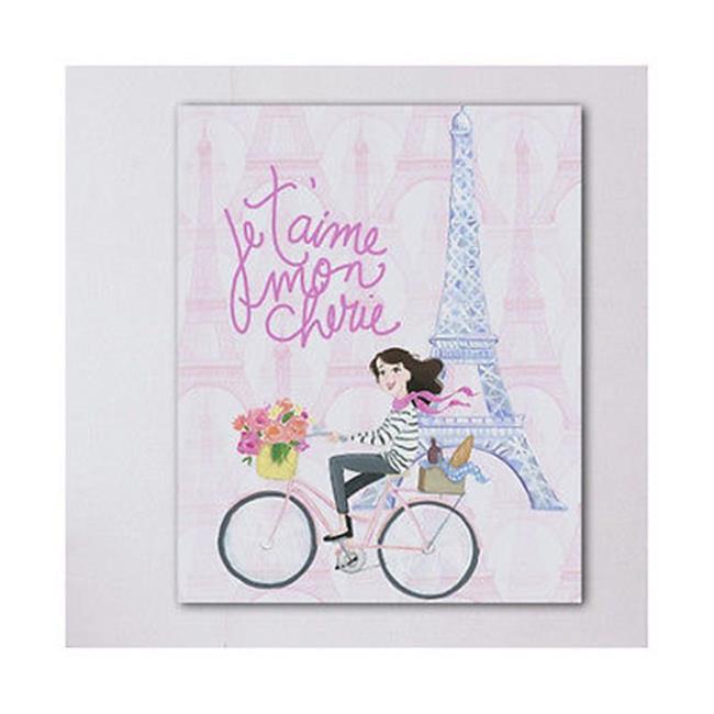 One Bella Casa 73194WD11 11 x 14 in. Je Taime Mon Cherie Canvas Wall Decor by Pinklight Studio - April Heather Art, Pink & Multi Color