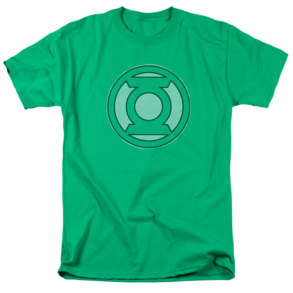 Green Lantern DC Comics Original Classic Lantern Ring Logo Faded Adult T-Shirt
