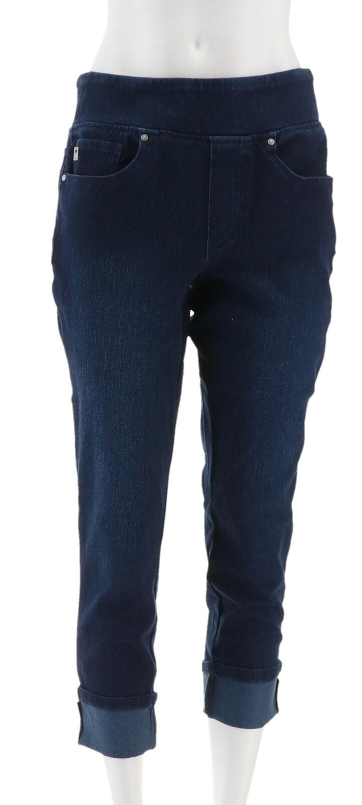 Belle Kim Gravel Flexibelle Cuffed Jeans Dark Indigo 10 NEW A345862