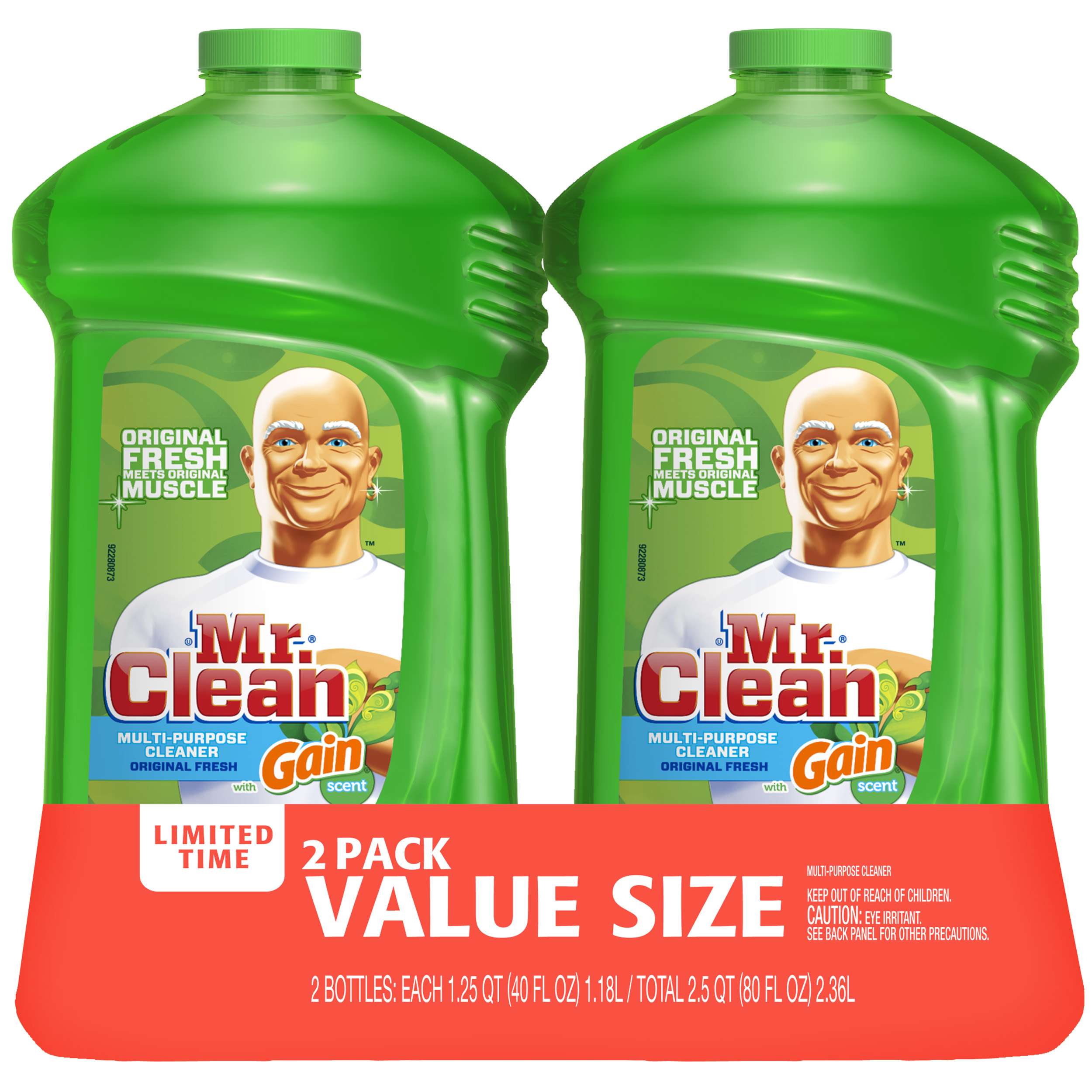 Mr Clean Liquid All-Purpose Cleaner with Gain Original Twin Pack (2 bottles 40 Oz each)
