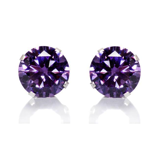 Jewelry Sterling Silver 8-mm Purple Round Cubic Zirconia Stud Earrings - image 1 de 1