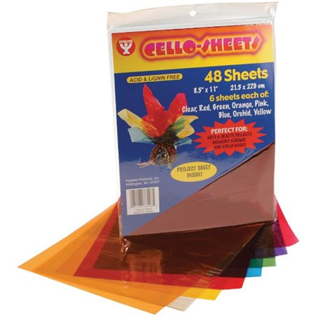 78548 Cello Sheets, 8.5 by 11-Inch, 48-Pack, These colorful cellophane sheets are great for memory albums scrapbooks and various other arts and crafts projects By Hygloss