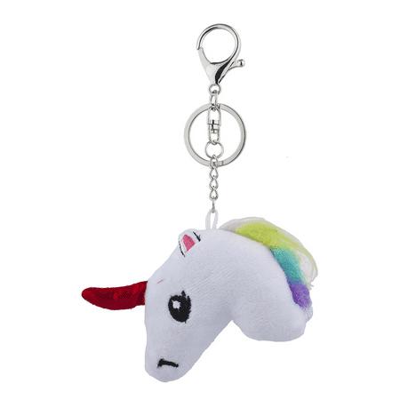 Lux Accessories White Fabric Unicorn Rainbow Mane Red Horn Bag Charm Keychain](Rainbow Bag)