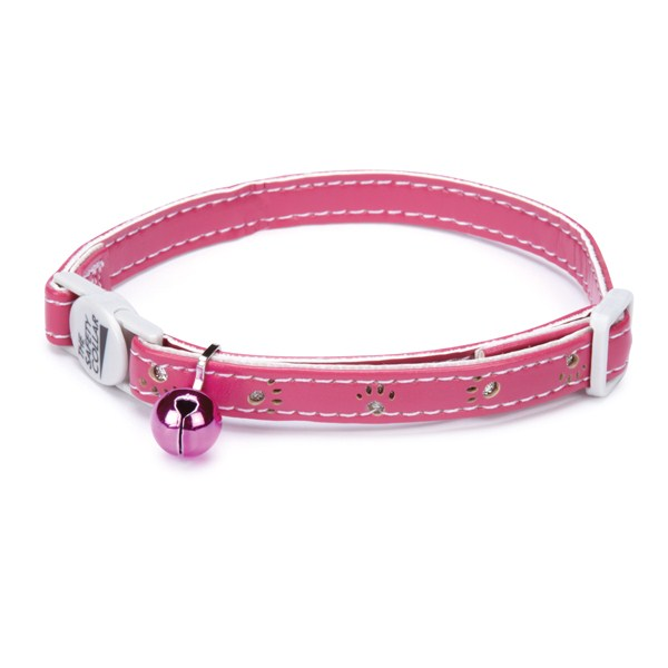 Savvy Tabby Sparkle Paw Collar 8-12in Pnk