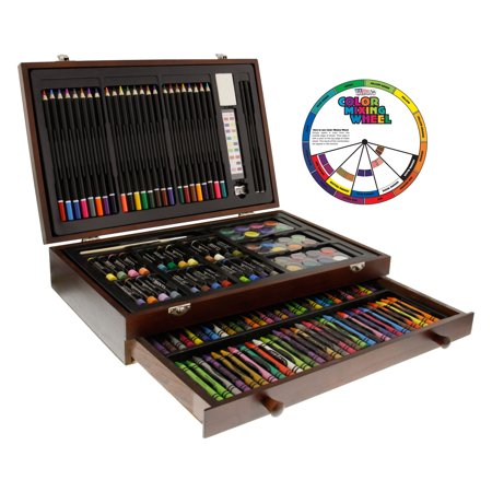 U.S. Art Supply 143 Piece-Mega Wood Box Art, Painting & Drawing Set, Now contains a Bonus Color Mixing Wheel - Art Boxes