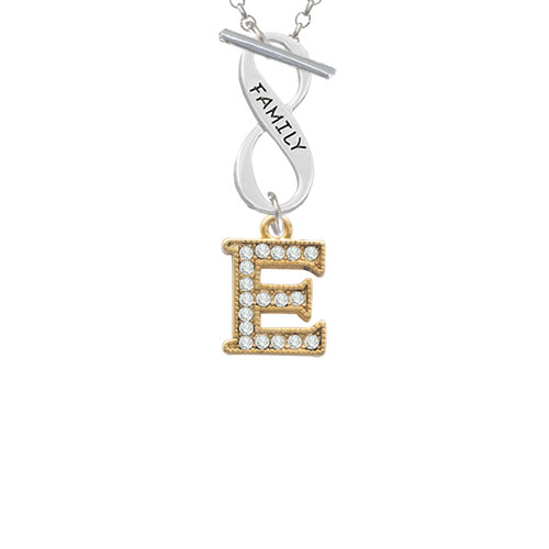 Crystal Gold Tone Initial - E - Beaded Border - Family Infinity Toggle Chain Necklace