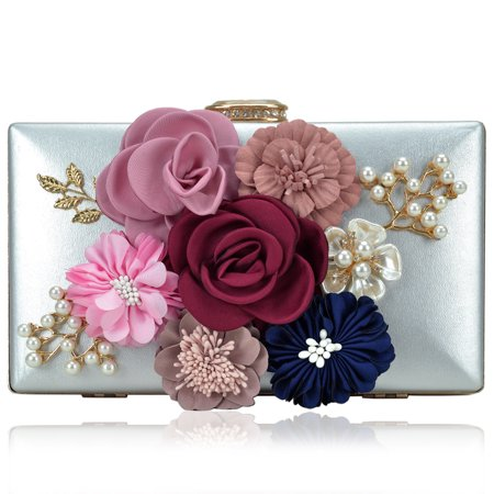 MKP COLLECTION Women's Flower Evening Bag Prom Party Wedding Cocktail Clutch Purse with Pearl Beaded Flower Beaded Satin Clutch