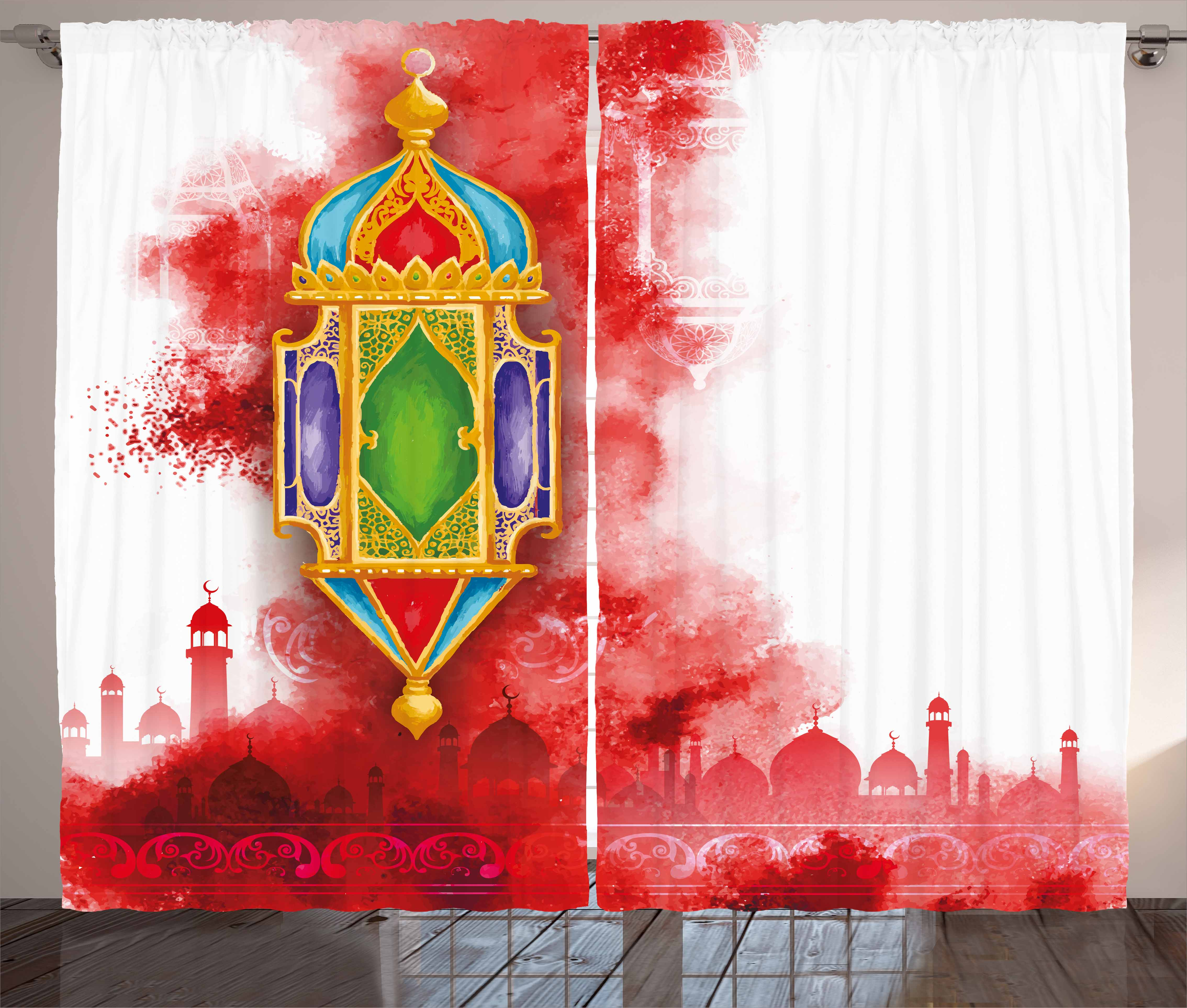 Lantern Curtains 2 Panels Set, Greeting of Ramadan Kareem Mosques Crescents with... by Kozmos