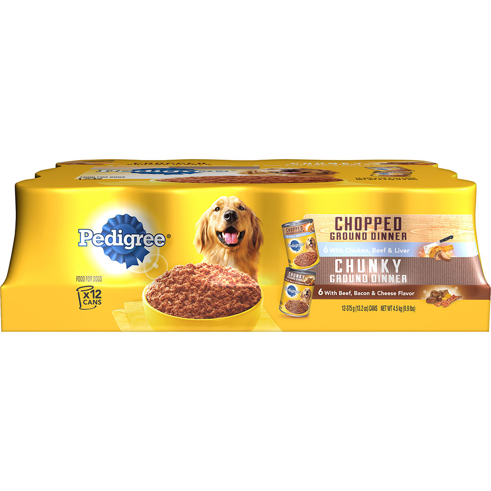PEDIGREE Ground Dinner Multipack Chicken Liver Beef & Beef Bacon Cheese 13.2 oz. (12 Count)