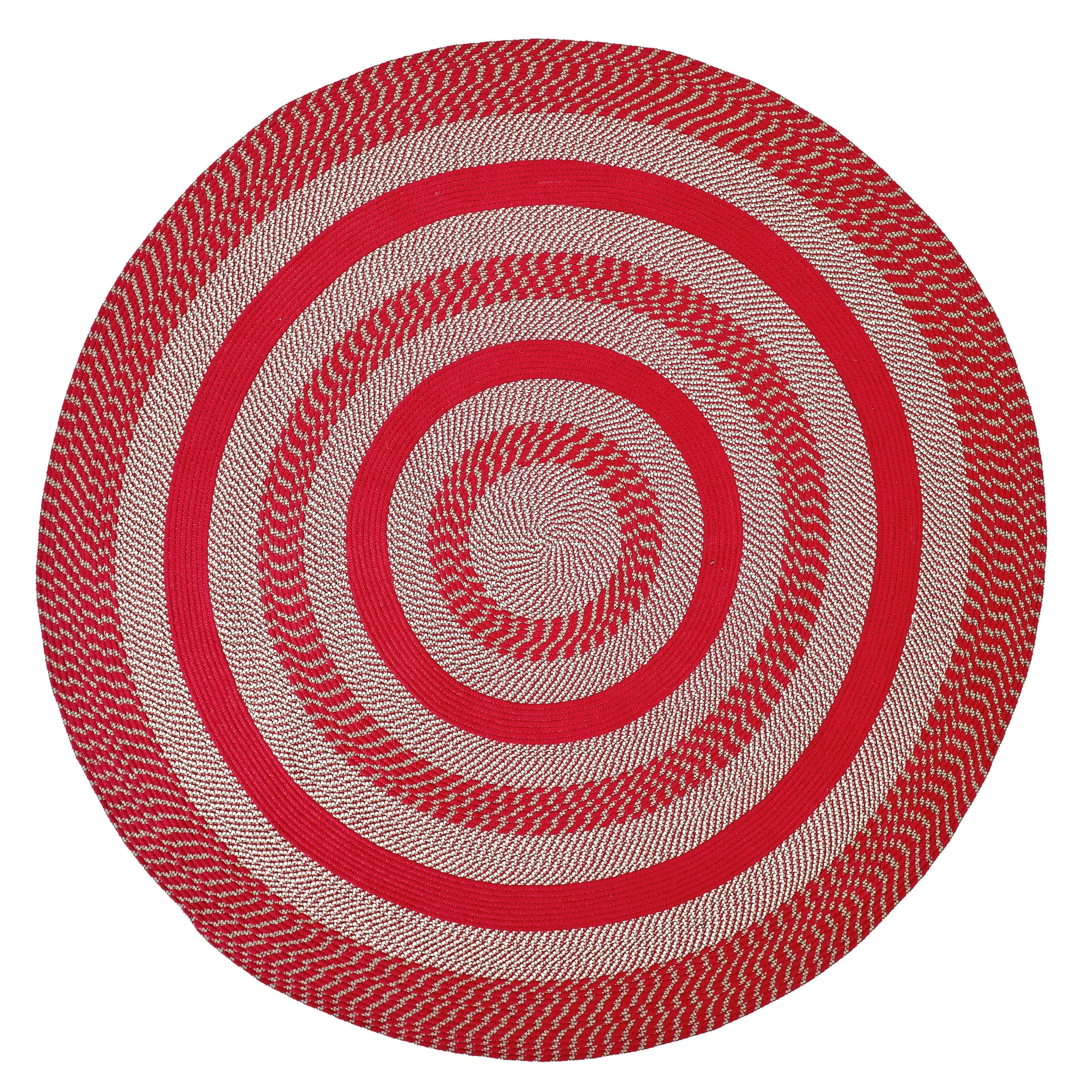 Better Trends  Newport Barn Red Round Braided Area Rug - 6'